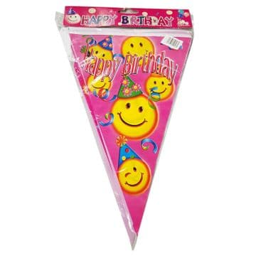 3 PACKS x PINK SMILEY FACE HAPPY BIRTHDAY PARTY BUNTING